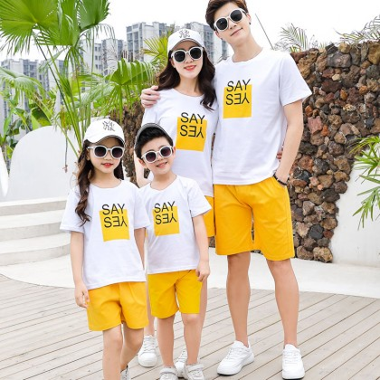 Parent Child Clothing  Cotton Shorts T- Shirts Summer Outfits Family of Three