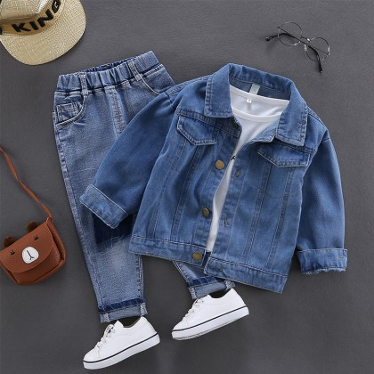 Kids Clothing Boys Tops Denim Button Down Jacket Summer Autumn Outfits Clothes