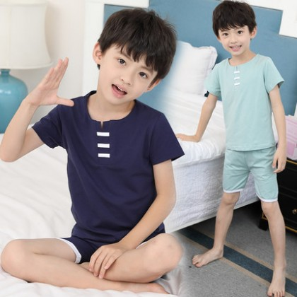 Kids Clothing Boys Sleepwear Set Shorts T- Shirt  Male Cotton Cute Night Wear