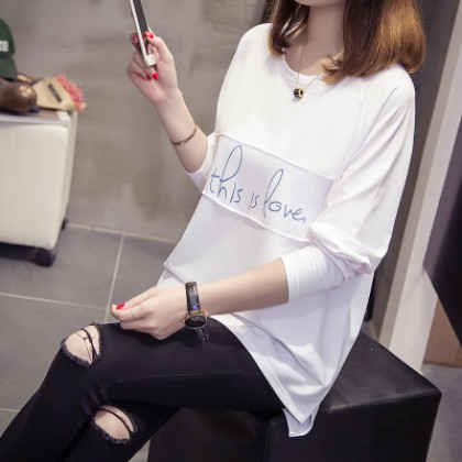 Women Korean Letters Working Casual Long Sleeve T Maternity Tops