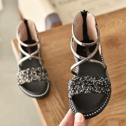 Kids Shoes Girls Princess Soft Bottom Casual Glitter Accent Flats Footwear