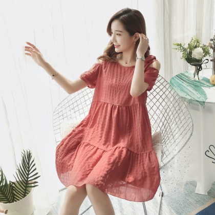 Maternity Clothing Dress Summer Knee Length Cotton Summer Pregnancy Wear