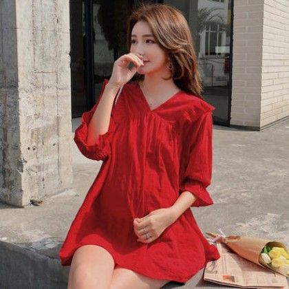 Maternity Clothing Elegant Laced Long Sleeves Dress for Pregnant Spring wear