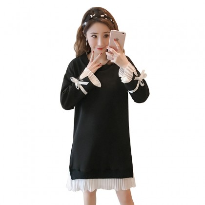 Maternity Clothing Knitted Double Long sleeved designed dress for Pregnant women