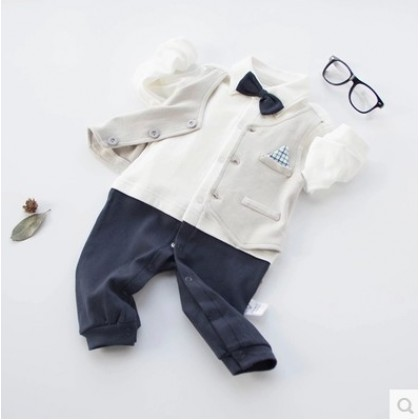 Baby Boy Pockets Sport Formal Long Sleeve Cotton Jumpsuit Rompers Bodysuit