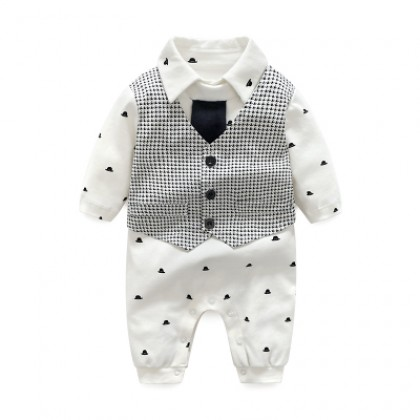 Baby Boy Formal Tie Houndstooth Cotton Jumpsuit Rompers Bodysuit
