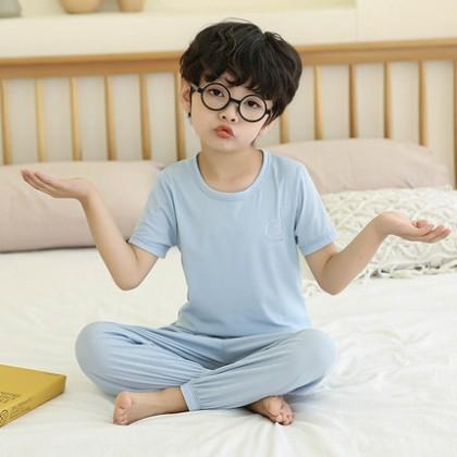 Kids Clothing Unisex Short-Sleeved Suits Ice Silk Pajamas