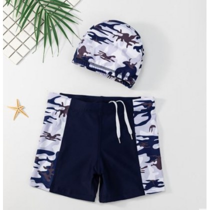 Kids Clothing Childrens Swimming Caps and Quick-Drying Trunks