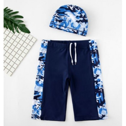 Kids Clothing Childrens Swimming Caps and Long Quick-Drying Trunks