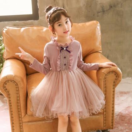 Kids Children Girl Cute Bridesmaid Formal Long Sleeve A Shape One Piece Dress
