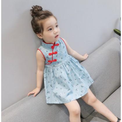 Kids Children Girl Cute Cheong Sam Flora One Piece Dress