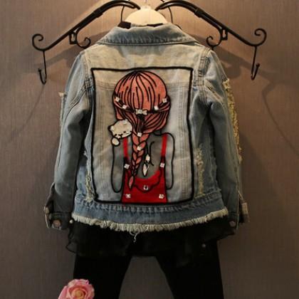 Kids Children Girl Cool Denim Jeans Korean Ripped Jacket
