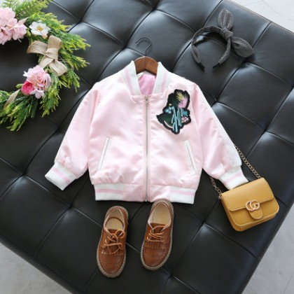 Kids Children Girl Cool Korean Embroidery Baseball Uniform Jacket Coat
