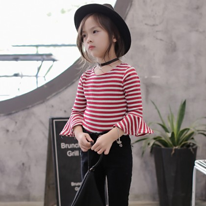 Kids Children Girl Casual Stripes Trumpet Long Sleeve T-Shirt Top Blouse