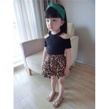 Kids Children Girl Cute Europe Off Shoulder Short Sleeve T-Shirt Top Blouse