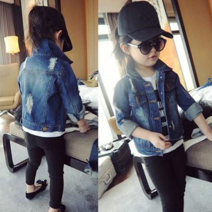 Kids Children Girl Cute Cool Denim Jeans Ripped Long Sleeve Jacket Coat