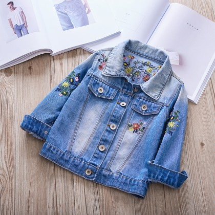 Kids Children Girl Cool Korean Embroidery Flora Denim Jeans Jacket Coat