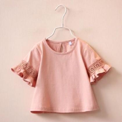 Kids Children Girl Cute Plain Basic Lace Short Sleeve Blouse T-Shirt Tops