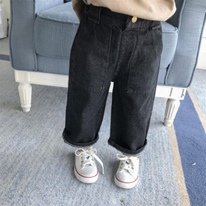 Kids Children Girl Casual Loose Straight Denim Jeans Trousers Pants