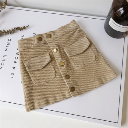 Kids Children Girl Casual Buttoned Pockets Corduroy Mini Short Skirts