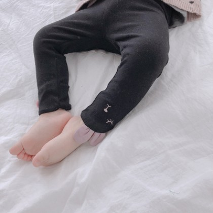 Kids Children Girl Black Rabbit Slim Elastic Leggings Long Pants Trousers
