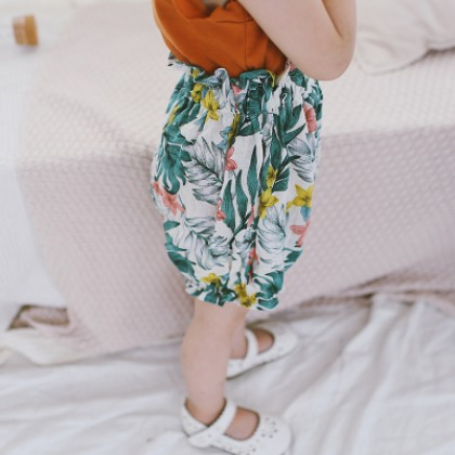 Kids Children Girl Casual Green Forest Elastic Waist Short Pants Trousers