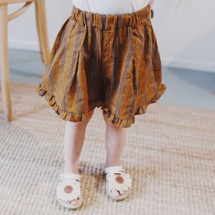 Kids Children Girl Brown Line Elastic Waist Long Pants Trousers