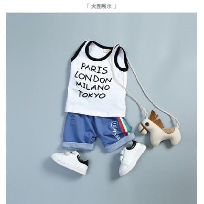 Kids Children Boy Europe Cities Sleeveless T Short Pants Two Pieces One Set